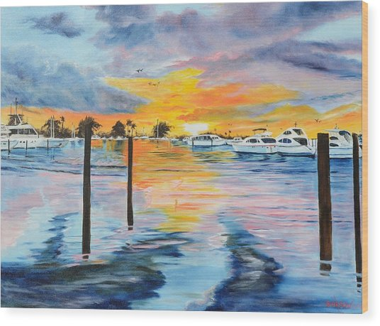 Sunset At The Yacht Club Wood Print