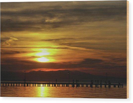 Sunset At Thessaloniki Wood Print