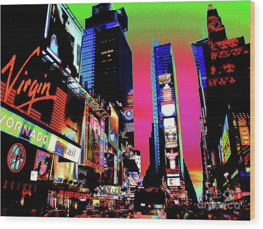 Sunset At Times Square Wood Print
