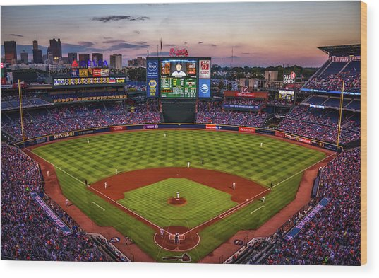 Sunset At Turner Field - Home Of The Atlanta Braves Wood Print