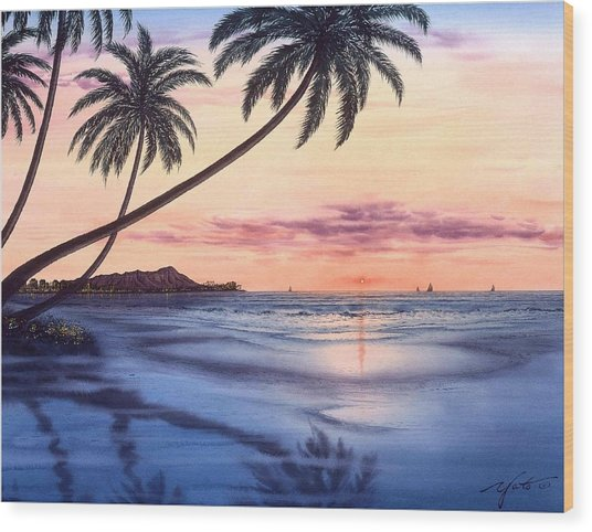 Sunset At Waikiki Beach Painting By John Yato
