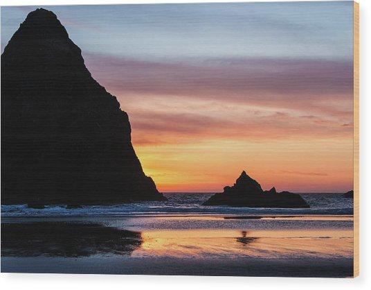Sunset At Whalehead Beach Wood Print