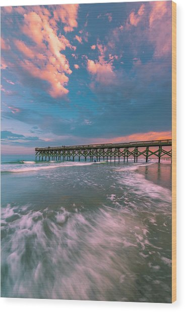Sunset At Wilmington Crystal Pier In North Carolina Wood Print