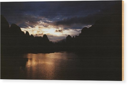Sunset At Yangshuo In China Wood Print by Gosta Eger