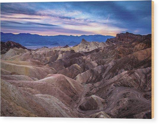 Sunset At Zabriskie Point In Death Valley National Park Wood Print