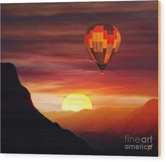 Sunset Balloon Ride Wood Print