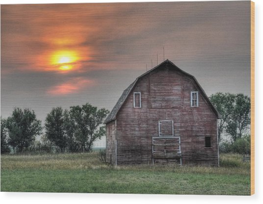 Sunset Barn Wood Print