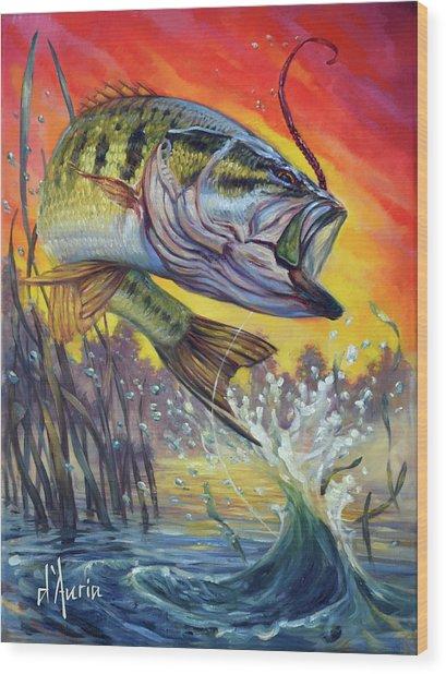 Sunset Bass Wood Print by Tom Dauria