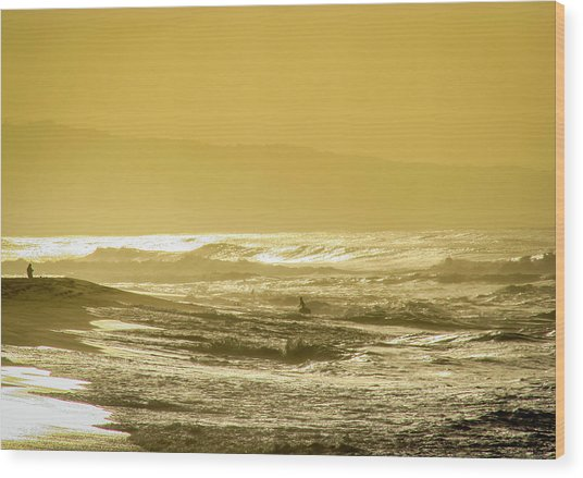 Sunset Beach Aglow  Wood Print