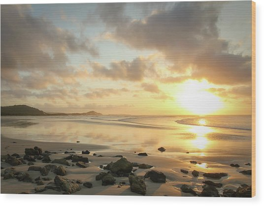 Sunset Beach Delight Wood Print