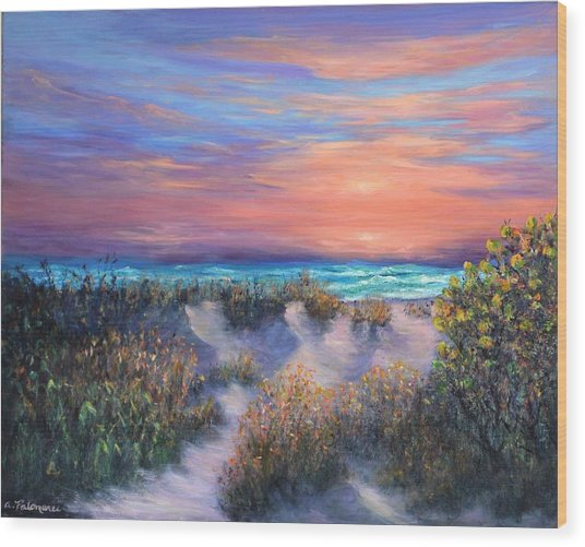 Sunset Beach Painting With Walking Path And Sand Dunesand Blue Waves Wood Print