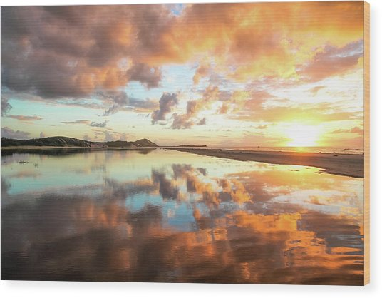 Sunset Beach Reflections Wood Print