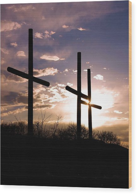 Sunset Behind The Cross Wood Print by Tim Abshire