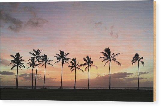 Sunset Behind The Palms Wood Print