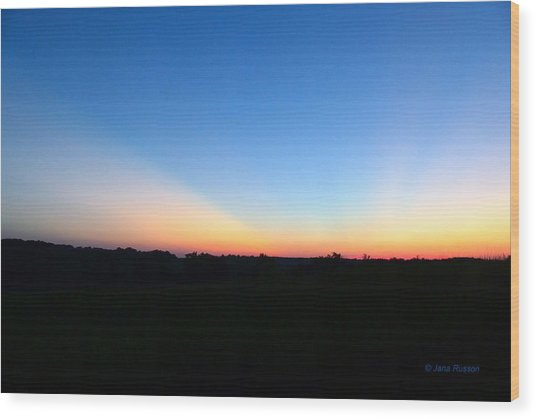 Sunset Blue Wood Print
