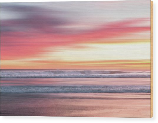 Sunset Blur - Pink Wood Print