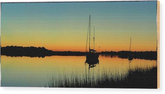 Sunset Bowens Island Wood Print