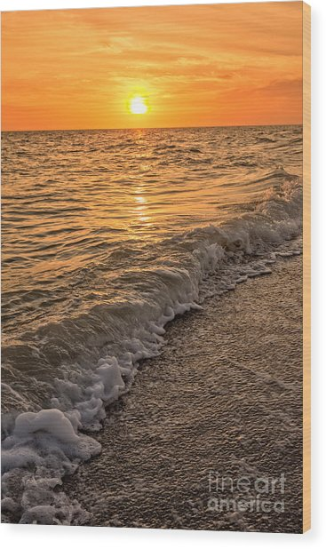 Sunset Bowman Beach Sanibel Island Florida  Wood Print