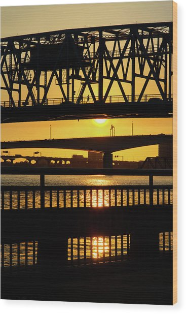 Sunset Bridge 2 Wood Print