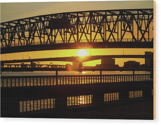 Sunset Bridge 3 Wood Print