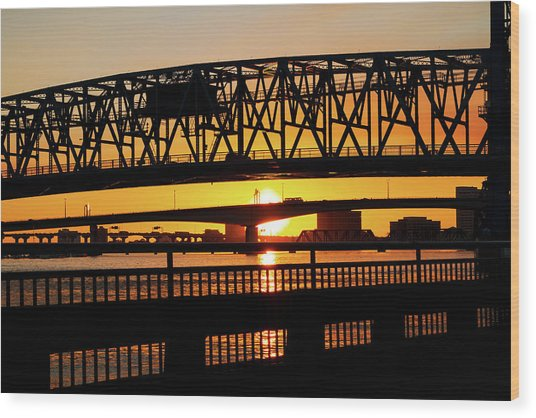 Sunset Bridge 4 Wood Print