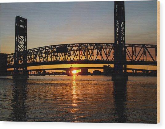 Sunset Bridge 5 Wood Print