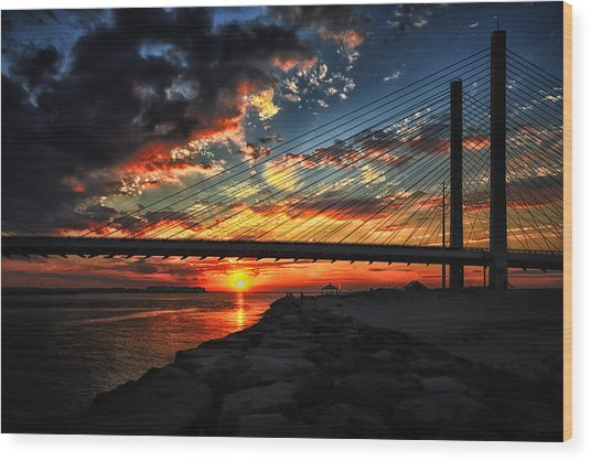 Sunset Bridge At Indian River Inlet Wood Print