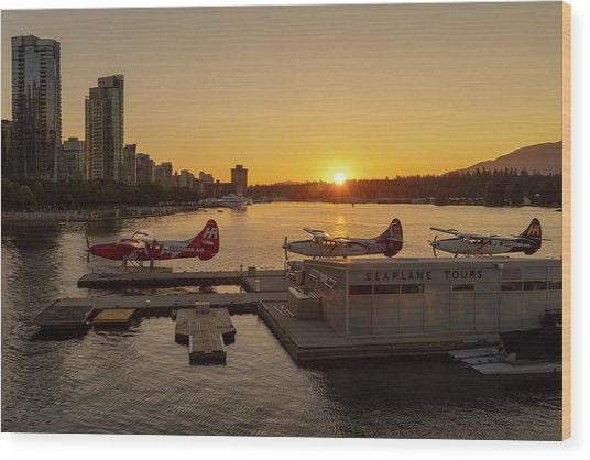 Sunset By The Seaplanes Wood Print