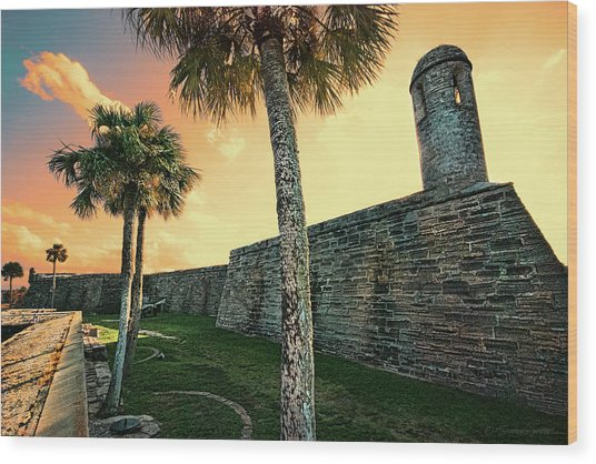Sunset Castillo De San Marcos Wood Print
