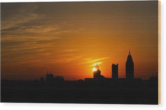 Sunset City Wood Print