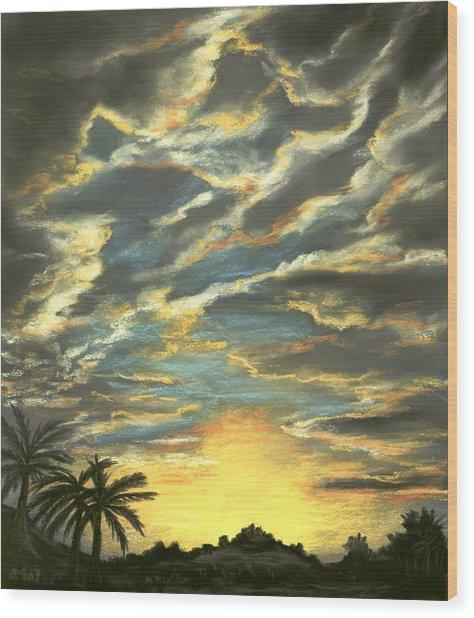 Wood Print featuring the painting Sunset Clouds by Anastasiya Malakhova