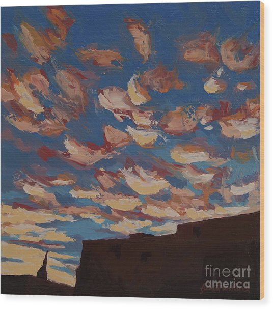 Wood Print featuring the painting Sunset Clouds Over Santa Fe by Erin Fickert-Rowland