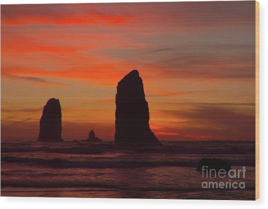 Sunset Coast Wood Print