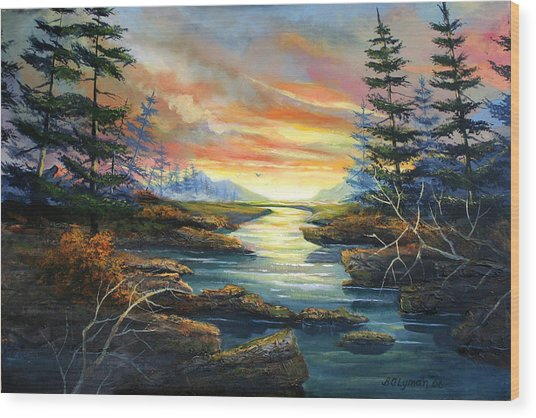 Sunset Creek Wood Print by Brooke Lyman