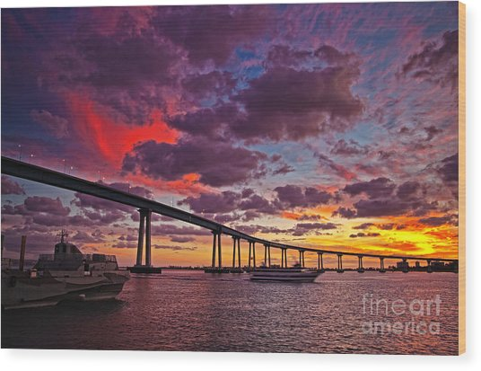 Sunset Crossing At The Coronado Bridge Wood Print