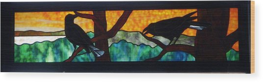 Wood Print featuring the glass art Sunset Crows by Jane Croteau