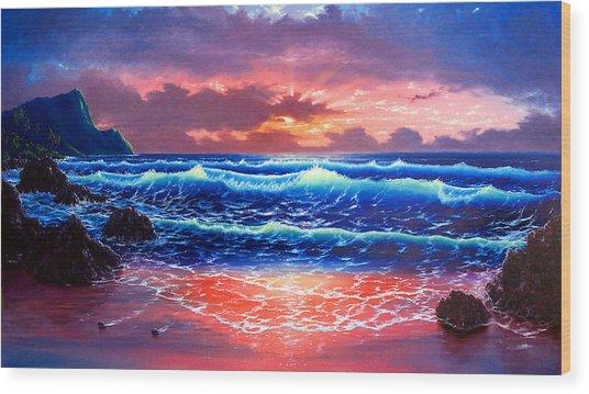 Sunset Wood Print by Daniel Bergren