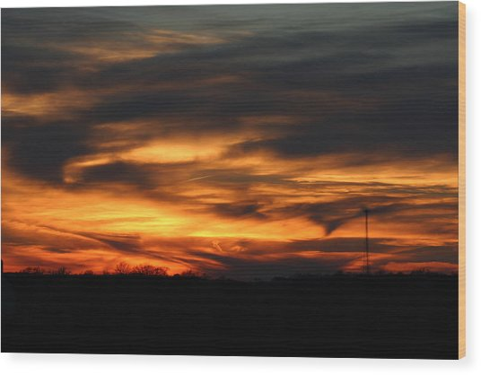 Sunset Wood Print by Dave Clark