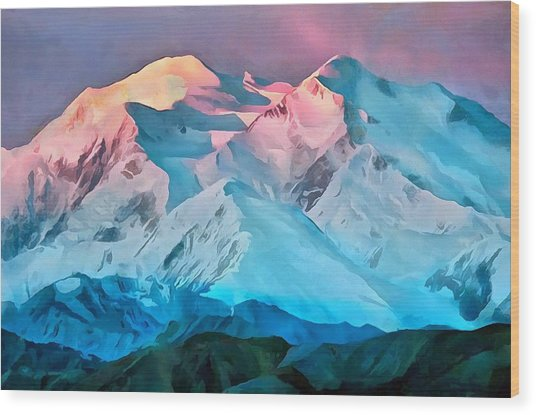 Sunset Denali Wood Print
