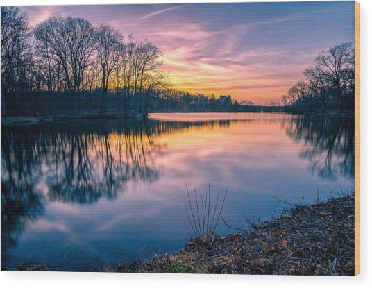 Sunset-dorothy Pond Wood Print