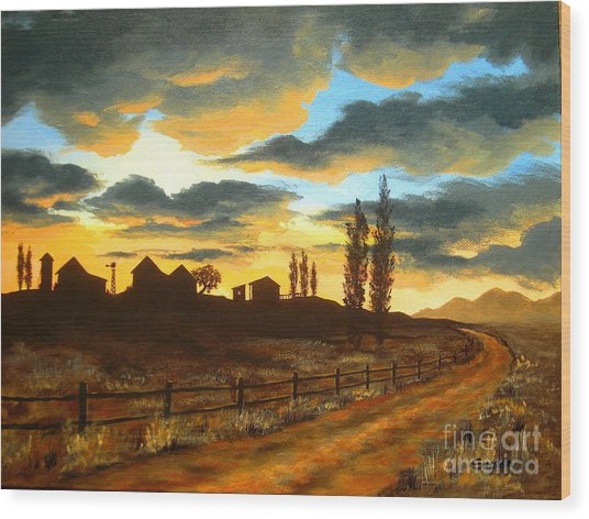Sunset  Farm Wood Print by Shasta Eone