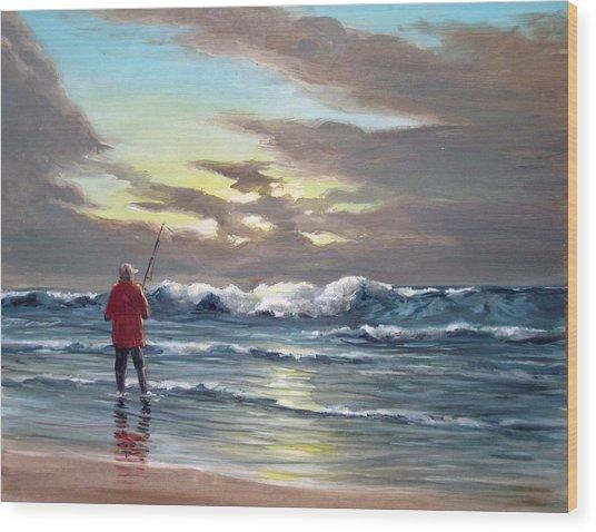 Sunset Fishing Off Newport Wood Print