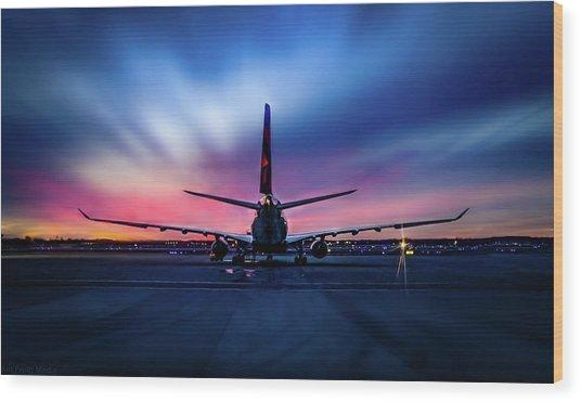 Sunset Flight Wood Print