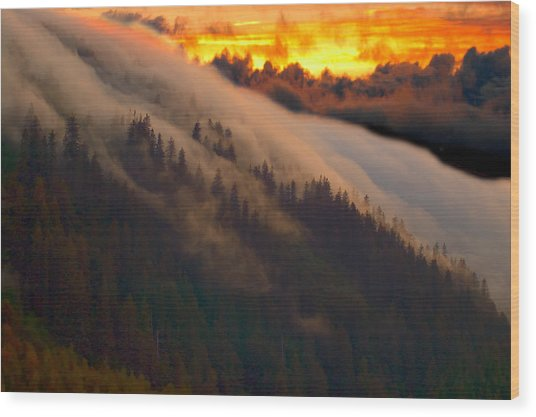 Sunset Fog Wood Print