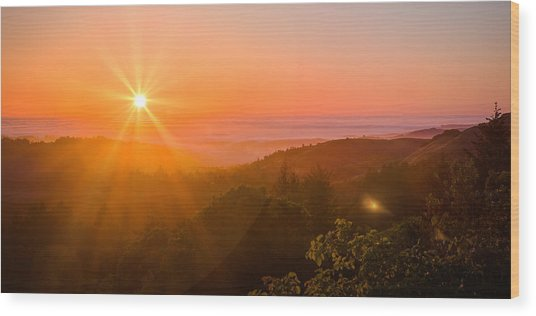 Sunset Fog Over The Pacific #1 Wood Print