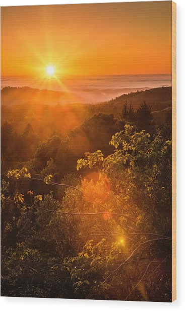 Sunset Fog Over The Pacific #2 Wood Print