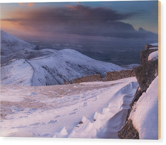 Sunset Following The Mourne Wall Wood Print