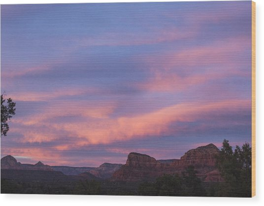 Sunset From Bell Rock Trail Wood Print