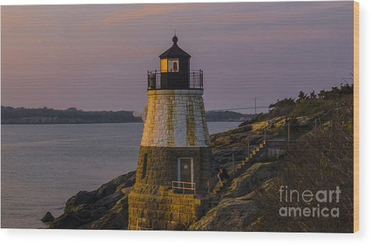 Sunset From Castle Hill Lighthouse. Wood Print