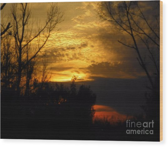 Sunset From Farm Wood Print